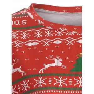 Merry Christmas Print Sweatshirt - RED XL