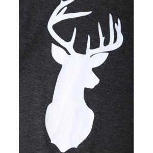 Long Sleeves Deer Print Christmas Tee -