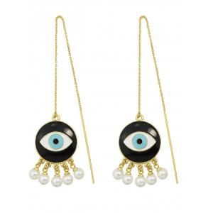 Eye Fake Pearl Tassel Drop Earrings - GOLDEN
