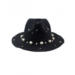Fake Pearl Felt Floppy Hat - BLACK
