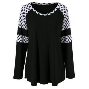 Plus Size Polka Dot Insert Tee - Black - 2xl