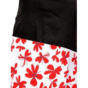 Vintage Abstract Floral Print High Waist Dress - BLACK AND WHITE AND RED 2XL
