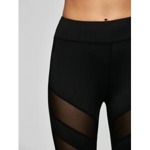 Mesh Panel Tank Top and Stretch Pants Yoga Suit - BLACK S