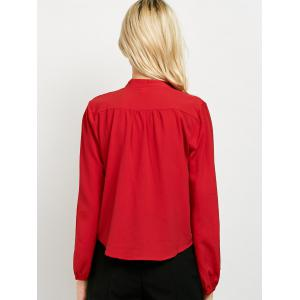 Long Sleeve Surplice Choker Blouse - RED XL