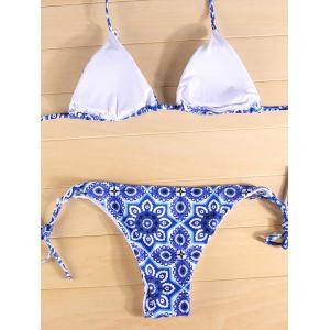 Halter Ethnic Style String Graphic Bathing Suit - BLUE L