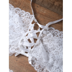 Unlined Bowknot Lace Wireless Bra and V String Panty - WHITE XL