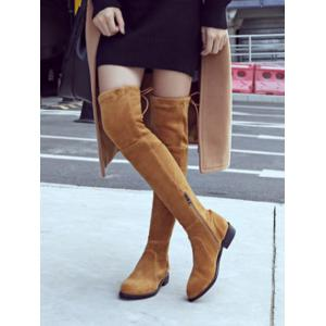 Flat Heel Flock Thigh High Boots -