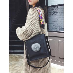 Pompon Colored Strap Shoulder Bag - BLACK
