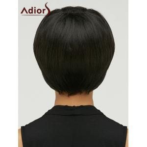 Adiors Spiffy Short Oblique Bang Straight Bob Synthetic Wig - BLACK