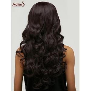 Adiors Long Fluffy Wavy Middle Parting Synthetic Wig - PURPLISH RED