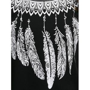 Sweat-shirt pull imprimé plume de tribu - Noir XL