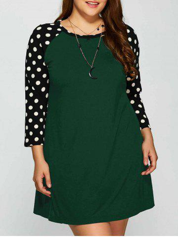 Buy Plus Size Polka Dot Panel Short Casual Dress