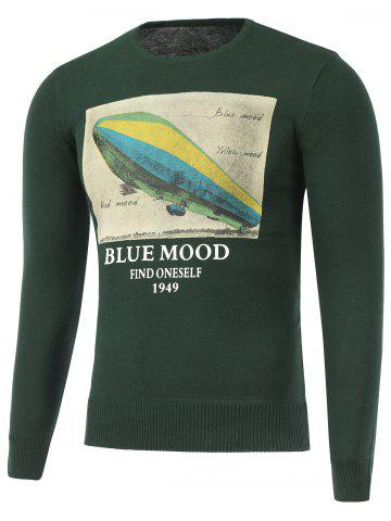 Online Long Sleeve Crew Neck Printed Sweater GREEN 2XL