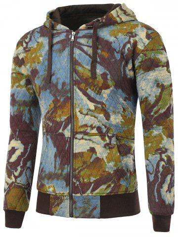 Buy Printed Pocket Zip Up Quilted Patterned Hoodies - 2XL BLUE Mobile