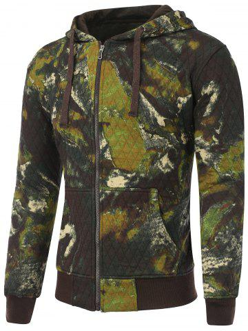 Printed Pocket Zip Up Quilted Patterned Hoodies - Army Green - L