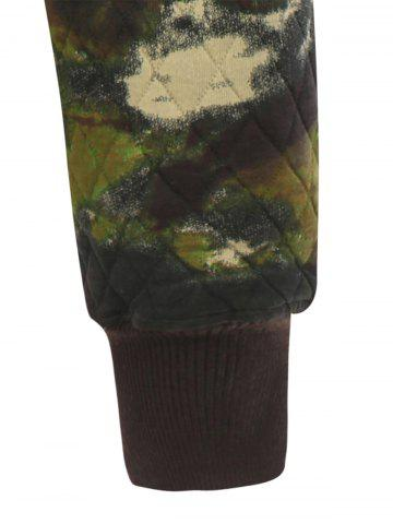 Cheap Printed Pocket Zip Up Quilted Patterned Hoodies - M ARMY GREEN Mobile