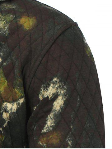 Fashion Printed Pocket Zip Up Quilted Patterned Hoodies - M ARMY GREEN Mobile