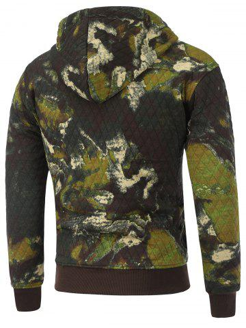 Unique Printed Pocket Zip Up Quilted Patterned Hoodies - M ARMY GREEN Mobile