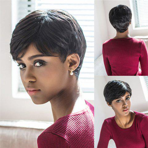Unique Spiffy Short Pixie Cut Capless Straight Layered Black Synthetic Wig For Women BLACK