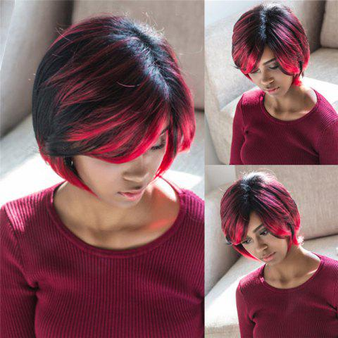 Hot Trendy Side Bang Synthetic Short Fluffy Straight Black Red Mixed Wig For Women
