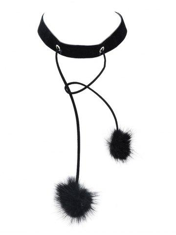 Outfits Double Fuzzy Ball Velvet Choker Necklace BLACK