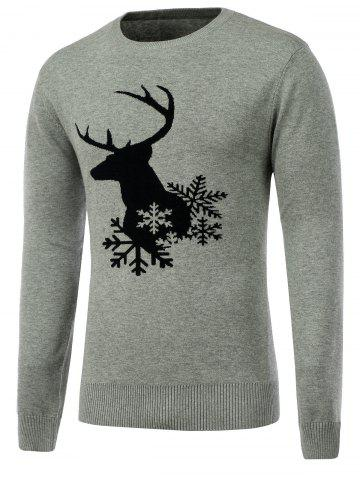 Shops Snowflake Reindeer Crew Neck Christmas Sweater GRAY XL