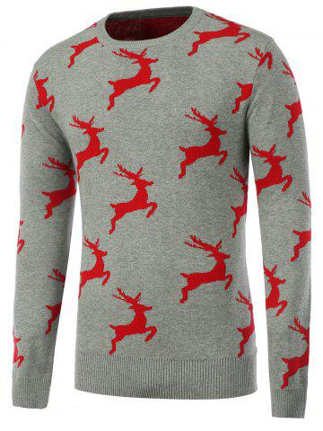 Sale Crew Neck Pullover Christmas Sweater GRAY XL