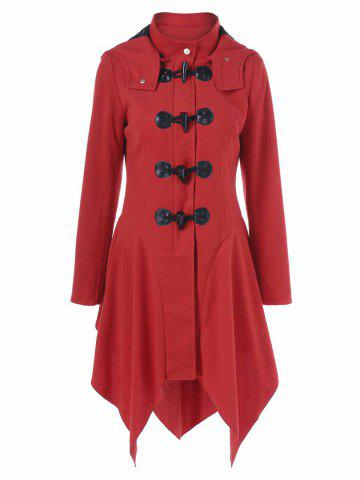 Store Hooded Horn Button Asymmetrical Coat