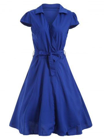 New V Neck Tied Belt Surplice Skater Dress BLUE 2XL