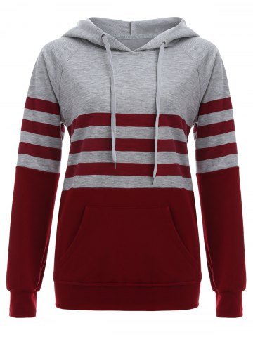 Fashion Raglan Sleeve Pocket Striped Hoodie RED L