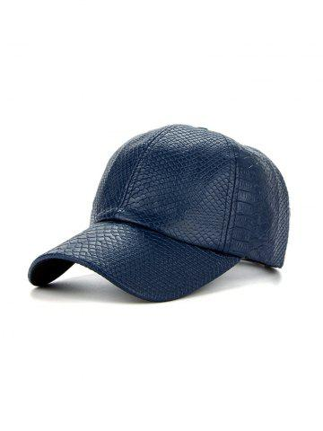 PU Leather Crocodile Snapback Baseball Hat - Cadetblue - One Size