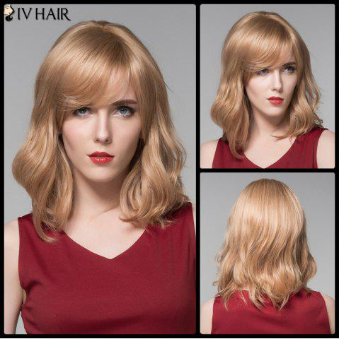 Fashion Siv Hair Medium Side Bang Slightly Wavy Real Natural Hair Wig