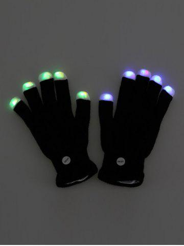 Chic Colorful LED Fingertip Lighting Gloves Party Prop Supplies - BLACK  Mobile