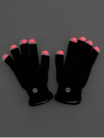 Latest Colorful LED Fingertip Lighting Gloves Party Prop Supplies - BLACK  Mobile