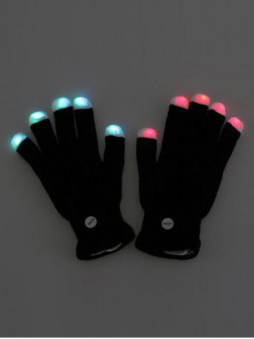 Unique Colorful LED Fingertip Lighting Gloves Party Prop Supplies - BLACK  Mobile