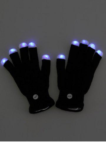 Affordable Colorful LED Fingertip Lighting Gloves Party Prop Supplies - BLACK  Mobile