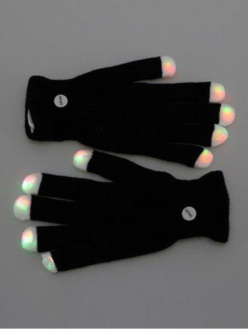 Store Colorful LED Fingertip Lighting Gloves Party Prop Supplies - BLACK  Mobile