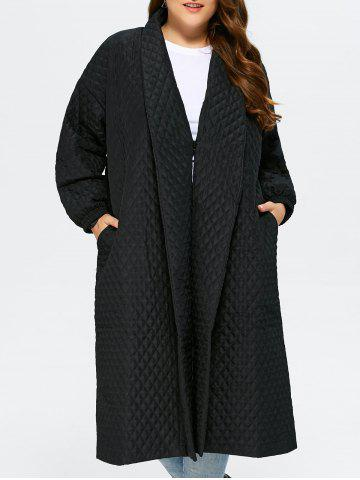 Back Slit Plus Size Quilted Jacket - Black - 2xl