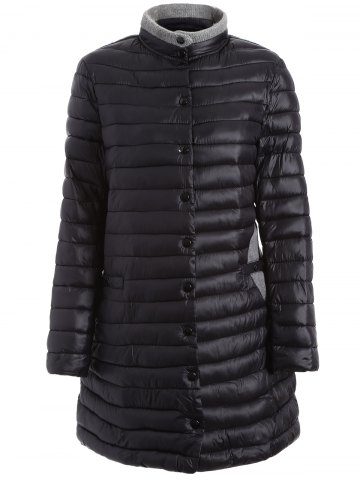 Discount Two Tone Plus Size Winter Padded Coat Jacket BLACK 3XL