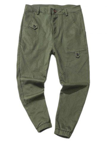 Chic Zipper Fly Low Slung Crotch Design Beam Feet Jogger Pants