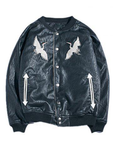 New Drop Shoulder Red Crowned Crane Embroidered PU Leather Jacket