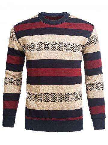 Cheap Crew Neck Stripe and Graphic Knitting Sweater WINE RED 3XL