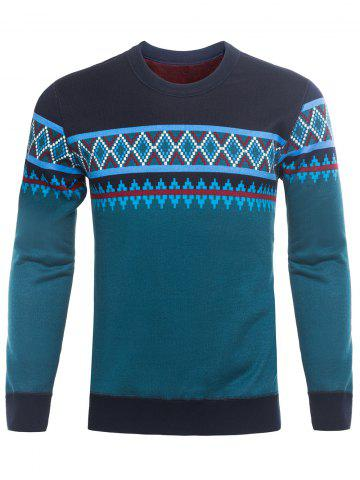 Crew Neck Ethnic Style Graphic Knitting Sweater - Blackish Green - 2xl