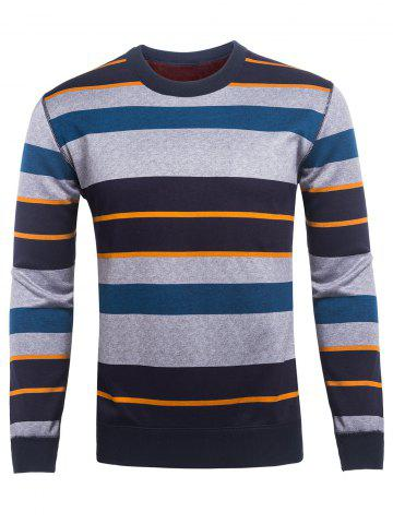 Fancy Crew Neck Color Block Striped Knitting Sweater