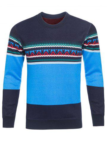 Discount Crew Neck Ethnic Style Graphic Color Block Knitting Sweater