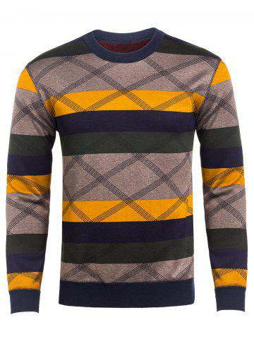 Shops Crew Neck Reticular Striped Color Block Knitting Sweater