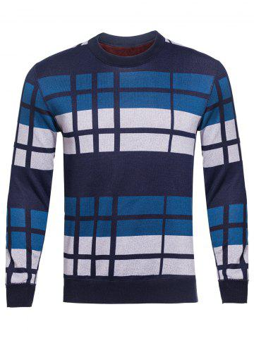 Outfit Crew Neck Vertical Striped Color Block Knitting Sweater BLUE 3XL
