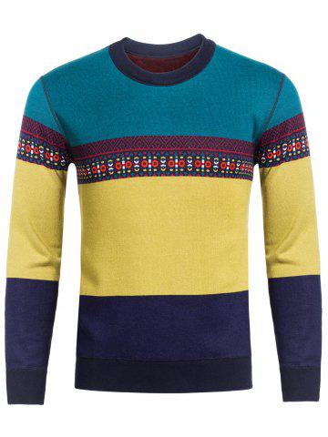 Online Crew Neck Ethnic Style Graphic Color Block Spliced Knitting Sweater