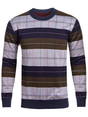 Trendy Crew Neck Stripe and Plaid Color Block Knitting Sweater
