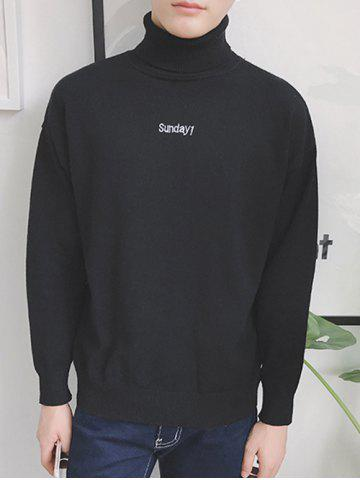 New Roll Neck Embroidered Drop Shoulder Long Sleeve Sweater